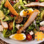 Chicken, Avocado Feta Salad with Creamy Garlic Dressing